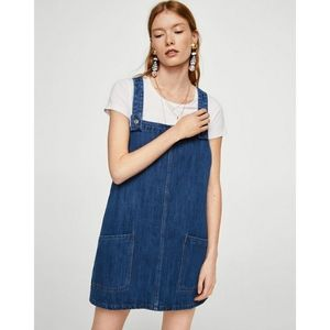 Mango Denim Overall Dress Medium